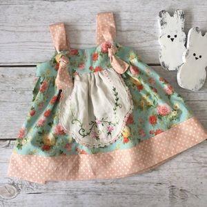 Handmade Floral Prairie Apron Dress OOAK Vintage